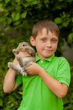 小男孩用一只兔子在手上 图库摄影
