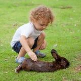 小男孩用兔子 免版税图库摄影