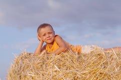 小男孩画象夏天帽子的坐一块麦田的一个干草堆 免版税库存照片