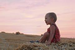 小男孩画象夏天帽子的坐一块麦田的一个干草堆 库存图片