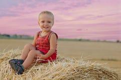 小男孩画象夏天帽子的坐一块麦田的一个干草堆 库存照片
