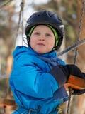 小男孩登山 免版税图库摄影