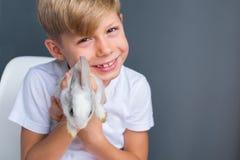 小男孩白色T恤杉和温驯的较矮小兔子 库存照片