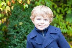 小男孩纵向在秋天日的 库存图片