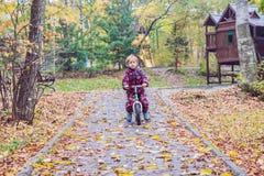 小男孩获得在自行车的乐趣在秋天森林选择聚焦 库存照片