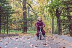 小男孩获得在自行车的乐趣在秋天森林选择聚焦 免版税图库摄影