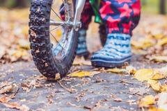 小男孩获得在自行车的乐趣在秋天森林选择聚焦 免版税库存照片