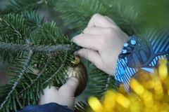 小男孩装饰圣诞树 库存照片