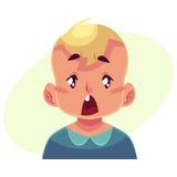 小男孩面孔,惊奇的表情 免版税图库摄影