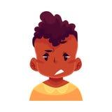 小男孩面孔,翻倒,迷茫的表情 免版税库存照片