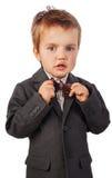 小男孩,隔离情感画象  图库摄影