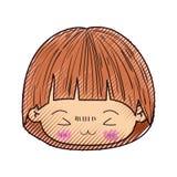 小男孩kawaii头色的蜡笔剪影有蘑菇发型和表情的愤怒在特写镜头 库存例证