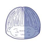 小男孩kawaii头蓝色遮蔽的剪影有蘑菇的发型和愤怒的表情的 向量例证