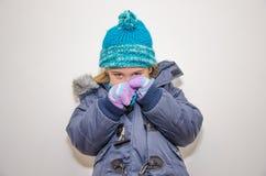 小白肤金发的女孩在一个冬日 图库摄影