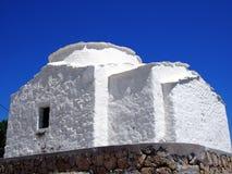 小白色希腊教会,斯基罗斯岛, 图库摄影