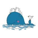 小的俏丽的鲸鱼和海鸥 免版税库存照片