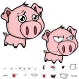 小的大顶头猪动画片表示集合 免版税图库摄影