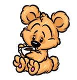 小的女用连杉衬裤熊咖啡 免版税库存照片