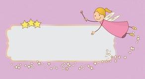 小的桃红色神仙的飞行卡片横幅 免版税库存图片