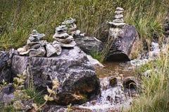 小的流 灰色石头 维拉 异端 绿草 库存照片