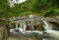 小的瀑布在热带雨林里 图库摄影