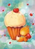小的灰鼠给蛋糕和樱桃 免版税图库摄影