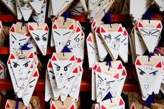 小的狐狸木头在Fushimi Inari-taisha做了礼物 免版税库存照片