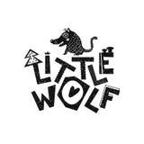 小的狼 手拉的样式印刷术海报 免版税库存图片