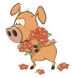 小的猪和花动画片 免版税库存图片
