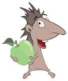 小的猬和绿色苹果动画片 免版税图库摄影