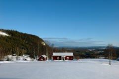 小的瑞典村庄冬天 库存图片