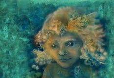 小的甜神仙的儿童画象,在抽象背景的特写镜头细节 免版税图库摄影