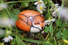 小的睡觉Fox绘了岩石舒适在草和庭院Fl 免版税库存照片