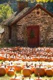 小的石房子在秋天 免版税库存照片