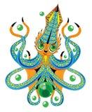 小的章鱼和泡影 免版税库存图片