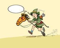 小的罗宾汉骑马玩具马 罗宾汉童年 孩子罗宾汉 中世纪传奇 中世纪传奇的英雄 皇族释放例证