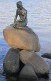 小的美人鱼的雕塑在岩石,哥本哈根的 免版税库存照片