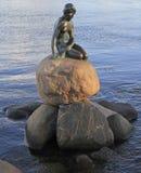 小的美人鱼的雕塑在岩石,哥本哈根的 库存图片