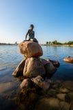 小的美人鱼雕象在哥本哈根丹麦 免版税库存照片
