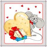 小的老鼠和大乳酪礼物 库存图片