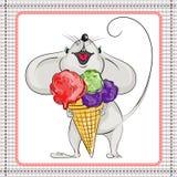 小的老鼠和大冰淇凌 库存照片