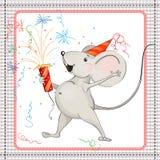 小的老鼠和烟花 库存照片