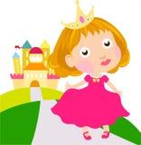 小的逗人喜爱的公主和城堡 免版税图库摄影