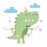 小的逗人喜爱的恐龙例证 免版税图库摄影