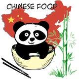 小的逗人喜爱的熊猫、竹子、中国旗子和地图,中国食物,手图画 免版税库存照片
