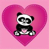 小的逗人喜爱的熊猫在心脏,手图画 免版税库存图片