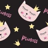 小的逗人喜爱的猫Seamless Pattern Background Vector公主例证 免版税库存照片