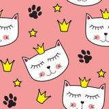 小的逗人喜爱的猫Seamless Pattern Background Vector公主例证 免版税图库摄影