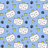 小的逗人喜爱的猫Seamless Pattern Background Vector公主例证 库存照片