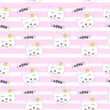小的逗人喜爱的猫Seamless Pattern Background Vector公主例证 库存例证